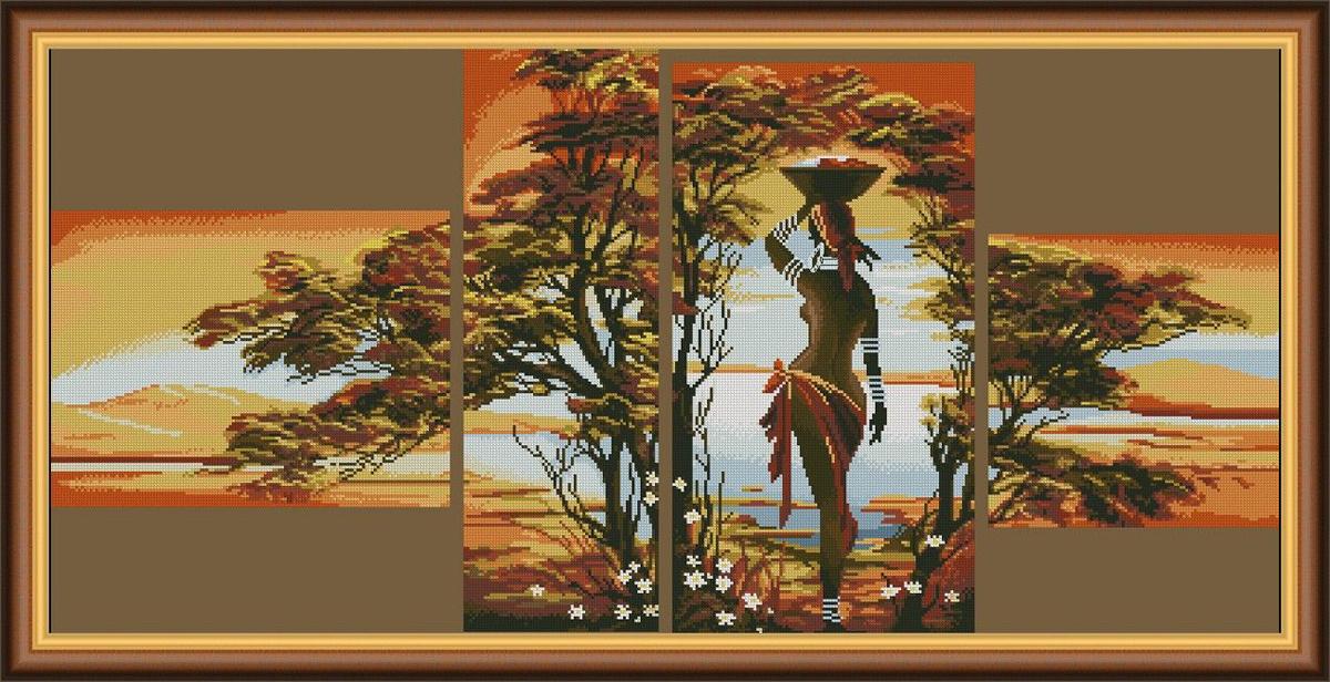 """Набор для вышивания крестом Alisena """"Полиптих. Африка"""", 72 x 33 см  #1"""