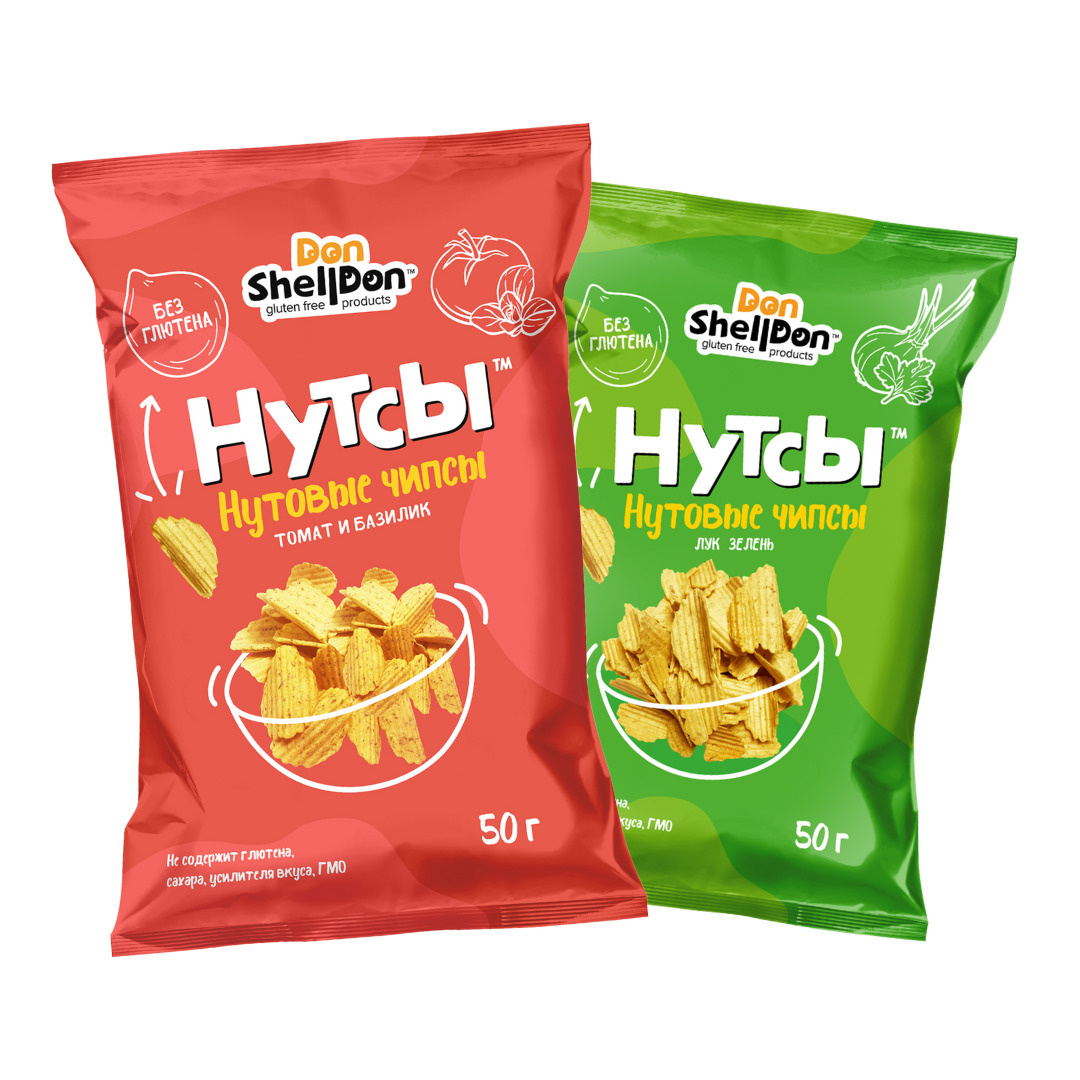 """DON SHELLDON Нутовые чипсы ассорти """"Томат и базилик"""", """"Лук и зелень"""" (2 упаковки)  #1"""
